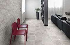 Living room entrance with Atelier tiles from Sintesi Ceramica.