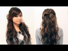 Easy Holiday Curly Half Updo Hairstyle For Medium Long Hair