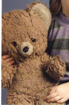 Pictures of  Lost an old Teddy Bear. One can tell that this bear was very well loved; not only by looks, but because the owners put an ad out to find the cherished bear. Very endearing! {Ad: 8-27-09. There are some holes in it (including 1 in right ear).Also been sewed up in some places.1 eye looks bitten up  Missing mouth (there are some remnants of where it was).It may have been lost around Motel 6 near the Univ. of MI. We live around Pittsburgh, PA,; he was lost on our vacation…