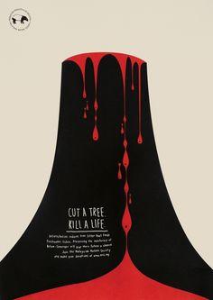 """""""Cut a tree, kill a life"""", una campaña gráfica minimalista contra la deforestación"""