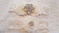 Ivory Garter Set  Wedding Garter  Bridal by BijouxBridalChicago