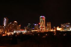Edmonton Skyline at night during the holidays.
