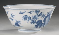 A BLUE AND WHITE 'MAGPIE' BOWL TRANSITIONAL PERIOD - Sotheby's