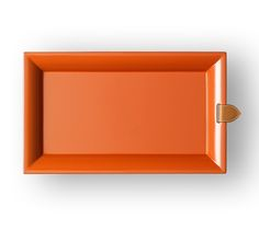 """Chakor Hermes change tray in Burmese orange, hand lacquered wood with natural chamonix calfskin strap (8.26"""" x 13.8"""")"""