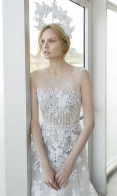 sleevelesss light gray illusion neckline sequins wedding dresses by Mira Zwillinger 2016 Stardust Alpha
