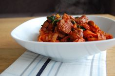 Carrot Pasta with Bacon, Sausage and Tomato Sauce - I love the idea of the carrot pasta!  I'm kind of over zucchini and spaghetti squash for now.