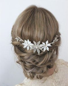 Flower wedding hair comb flower bridal hair comb silver