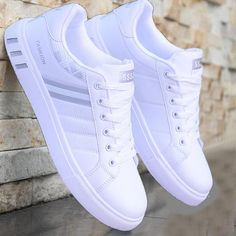 Mens White Casual Shoes, Mens White Sneakers, Men Sneakers, Adidas Mens Trainers, White Shoes For Men, White Shoes Outfit, Casual Sneakers, Black Shoes, Mens Fashion Shoes