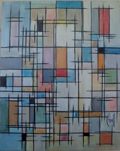 Graphic Color Lines  Loose Lines Painting  Abstract 16x20  Original CROWELL COA #Cubism