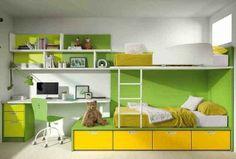 Acogedor dormitorio juvenil en verde y naranja (oro)