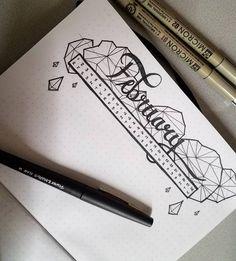 Bullet journal monthly calendar, linear calendar, calligraphy header, crystal drawings.   @adams.lame.ass.art