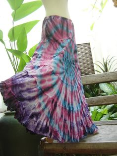 Ariel on Earth - Boho Gypsy Long Tiered Ruffle Tie Dyed Cotton Skirt - BP0501 @Tisha G Worley