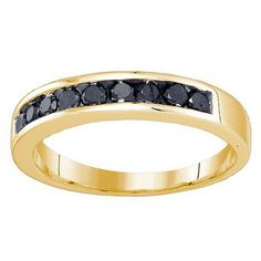 Elora 10K Gold Men's 3/4ct TDW Black Diamond Anniversary Wedding Band (Size 10.5, Yellow Gold)