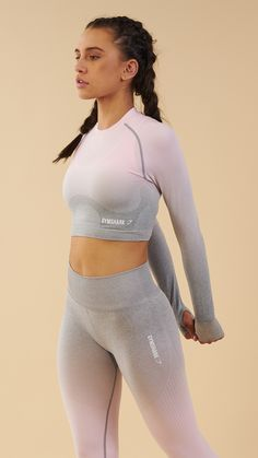 Chalk pink combo. The Gymshark Ombre Seamless Long Sleeve Crop Top is designed to flatter, support and enhance. Coming soon in Chalk Pink and Light Grey Marl.
