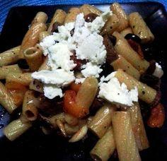 rigatonni in olive oil with italian sausage and veg.  #homecookedmeal, #pastadish, #cookingathome #pasta