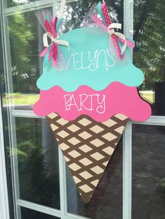 Ice Cream Cone Door Banner, Ice Cream Birthday Sign, Pink, Blue, Brown, Personalized Door Banner, Customized in any Color Combination by PinkPaperCottage on Etsy https://www.etsy.com/listing/280139696/ice-cream-cone-door-banner-ice-cream