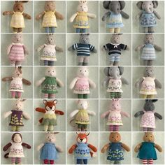 Montage of charming knitted toys from Little Cotton Rabbits blog.