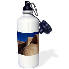 3dRose Rancho de Taos, New Mexico, USA. St Francis de Asis church., Sports Water Bottle, 21oz, White