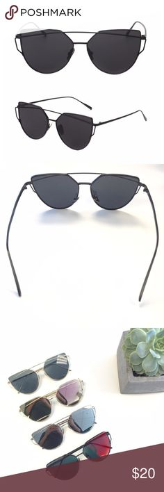 Black Aviator Sunglasses Cat eye shaped and non-reflective. Black metal frames with black lenses Accessories Sunglasses