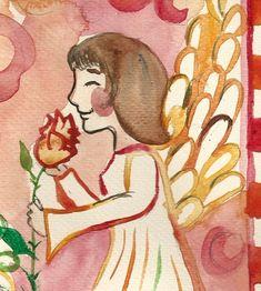 "@fairychamber posted to Instagram: Detail from my painting ""angel and a rosy"" / yksityiskohta maalauksestani ""enkeli ja ruusu"" Red Art, Original Art, Angel, Wall Art, Detail, Illustration, Artist, Prints, Poster"