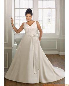 Robe A-ligne avec bretelles en satin ornée de plis et de ruban robe de mariée grande taille