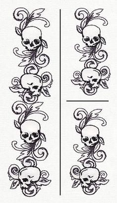 Toile Noir - Skull Border Vertical (Split) design from… Skull Stencil, Stencil Art, Skull Art, Stencils, Wood Burning Patterns, Wood Burning Art, Black White Art, Black And White Drawing, Drawing Borders