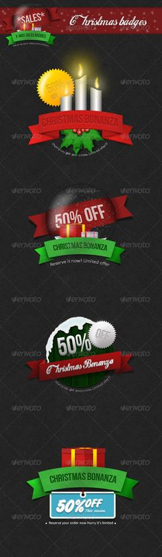 Christmas Badges For Sale Promotions - PSD Template • Only available here ➝ http://graphicriver.net/item/christmas-badges-for-sale-promotions/6280663?ref=pxcr