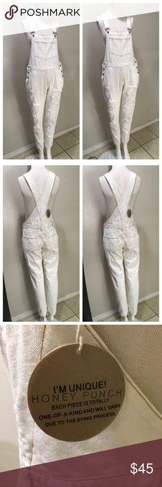 HONEY PUNCH WHITE DENIM OVERALLS White denim overalls Honey Punch Jeans Overalls