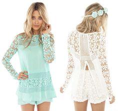 Casual Floral Lace Crochet Shirt