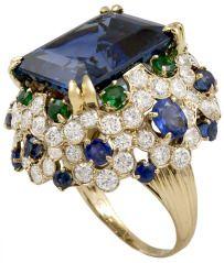 VAN CLEEF & ARPELS Sapphire Diamond Emerald Ring via 1st dibs