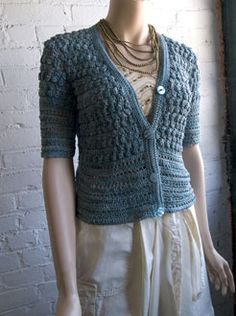 """Aruna"" #crochet cardigan pattern, free at Berroco.com. Sizes up to 52"" bustline."