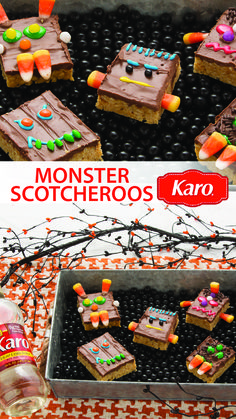 Whip up a party-ready Halloween treat in no time with this easy, Karo recipe for Monster Scotcheroos.