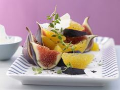 This orange and fig salad is accented with Spanish manchego cheese in a dish that makes a great snack, appetizer, or even dessert. | Eat Smarter