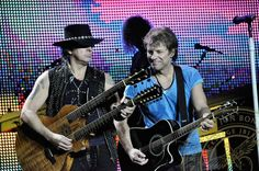 """Oh lord, he's got the hat on. Supermans cape. Ladies and gentleman, the heavy weight champion of the world, Richie Sambora."" Jon Bon Jovi and Richie Sambora in Auckland, 05/12/10"