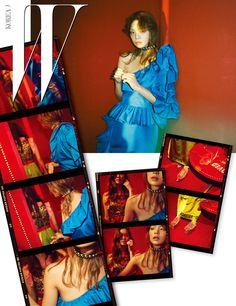 경현이 입은 러플 장식 원숄더 드레스, 진주 초커와 검은색 진주 링, 세온이 입은 새틴 이브닝드레스, 핑크 벨벳 슬리퍼와 플랫폼 샌들을 레이어드한 슈즈는 모두 Gucci 제품. 2d Design, Layout Design, Fashion Editor, Editorial Fashion, Banners, Portrait Photography, Fashion Photography, Grid Layouts, Art Inspo