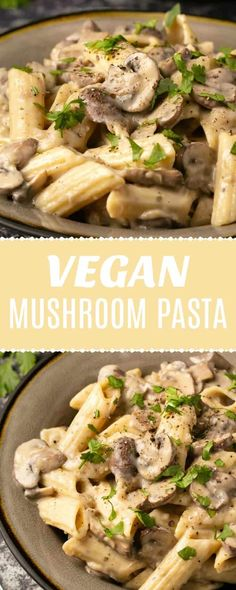 Rich and creamy vegan mushroom pasta. Packed with mushrooms and mushroom flavor and ready in 30 minutes or less. The perfect weeknight meal. Vegan Dinner Recipes, Vegan Dinners, Vegan Recipes Easy, Whole Food Recipes, Vegetarian Recipes, Cooking Recipes, Meatless Pasta Recipes, Vegan Weeknight Meals, Vegan Mushroom Pasta
