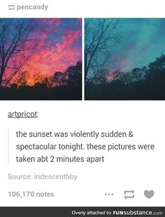 """Pretty af """"violently sudden and spectacular"""" sounds like a Night Vale quote Pretty Pictures, Cool Photos, Beautiful World, Beautiful Places, Amazing Photography, Art Photography, Photography Aesthetic, Wow Art, All Nature"""