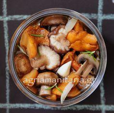 Μανιτάρια_τουρσί_2 Wild Mushrooms, Stuffed Mushrooms, Food Styling, Pickles, Cucumber, Jar, Cooking, Recipes, Greek