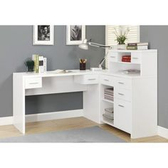 White Hollow-Core L Shaped Home Office Desk - Monarch Specia.- White Hollow-Core L Shaped Home Office Desk – Monarch Specialties White Hollow-Core L Shaped Home Office Desk – Monarch Specialties - White Corner Desk, Corner Desk With Hutch, Office Desk With Hutch, Computer Desk With Shelves, White Desk Office, Desk Shelves, White Desks, Desk Hutch, Desk Storage
