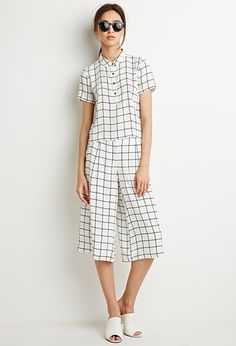 $45 NEED! Grid Print Blouse and Gaucho Set | Forever 21 - 2049257610