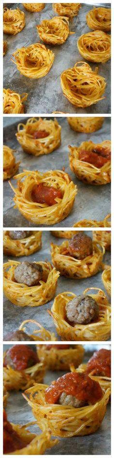 How to make spaghetti & meatball muffins. A clever muffin tin recipe! Easy meal and appetizer idea.
