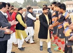 Minister for Forest Ch Lal Singh Ecology and Environment alongwith other dignitaries interacting with players in Jammu.