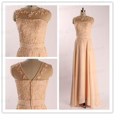 2014 Elegant Pink Lace Applique Beaded Chiffon Long Prom Dress Wedding Gowns Bridesmaid Dress latest Evening gowns Sheer Back Formal Dresses on Etsy, $116.00