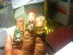 My knuckles are too big for this display of assorted gems, destined for friends and family....Made by Mac McGee