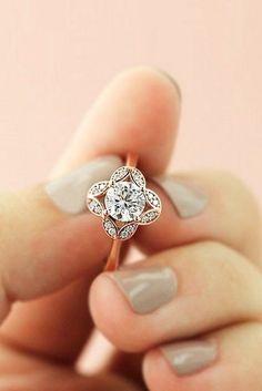 Grace Vintage Engagement Ring Rose gold engagement Gold