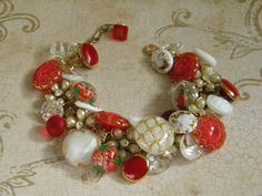 Vintage button bracelet glass buttons red white by TouchingThePast, $65.00
