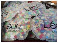 pochette confetti nuage pour un faire part de naissance