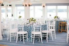 Preppy wedding reception details, blue table linen at Summer wedding at Eastward Ho! Cape Cod Wedding: Kristen & Raja - BKB & CO. | Boston Wedding Photography and Video Studio