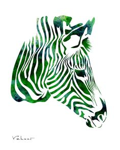 Emerald Zebra   Archival Print from Original by FluidDiamondArt, $6.00