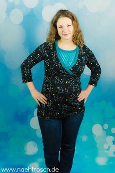 Nähfrosch Stillshirt Martha von Milchmonster mit selbst gebautem Wickelausschnitt aus Fancy 50s Interlock von Astrokatze! Nähen Sewing